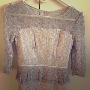 Adrianna Papell Grey Lace Dress